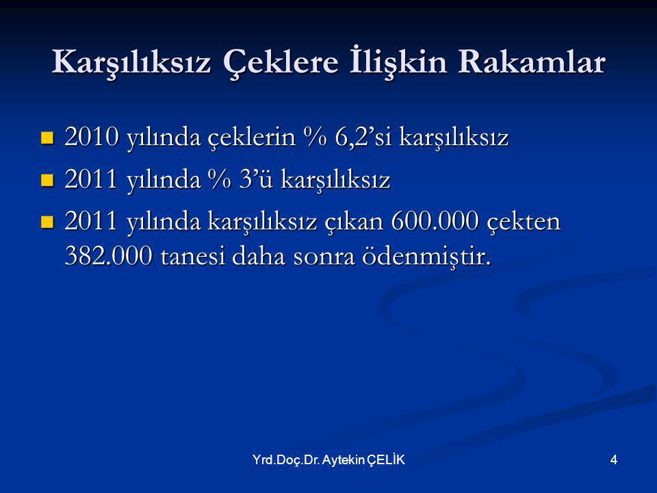 Yrd.Doç.Dr. Aytekin ÇELİK4 Karşılıksız Çeklere İlişkin Rakamlar  2010 yılında çeklerin % 6,2'si karşılıksız  2011 yılında % 3'ü karşılıksız  2011 y