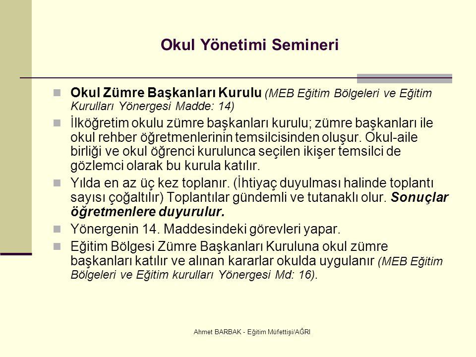 Ahmet BARBAK - Eğitim Müfettişi/AĞRI Okul Yönetimi Semineri  Okul Zümre Başkanları Kurulu (MEB Eğitim Bölgeleri ve Eğitim Kurulları Yönergesi Madde: