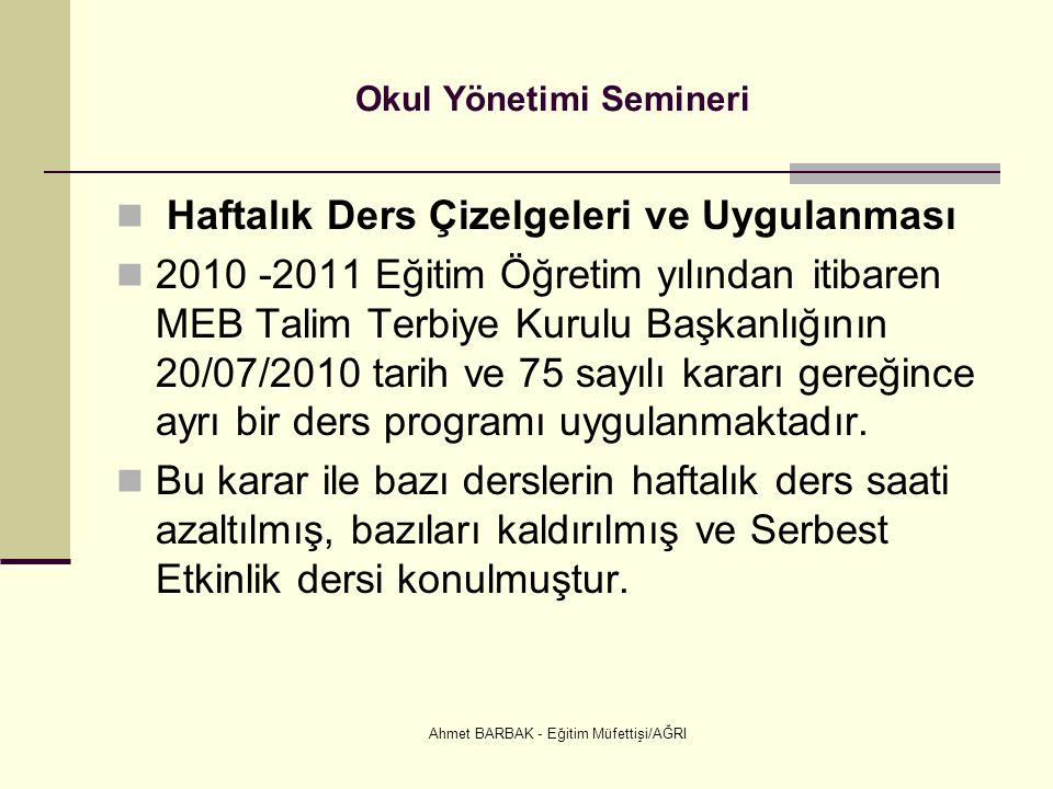 Ahmet BARBAK - Eğitim Müfettişi/AĞRI Okul Yönetimi Semineri  Haftalık Ders Çizelgeleri ve Uygulanması  2010 -2011 Eğitim Öğretim yılından itibaren M