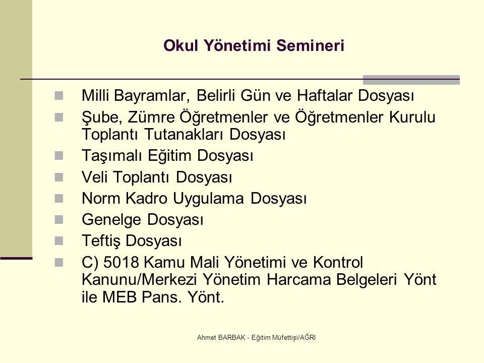 Ahmet BARBAK - Eğitim Müfettişi/AĞRI Okul Yönetimi Semineri  Milli Bayramlar, Belirli Gün ve Haftalar Dosyası  Şube, Zümre Öğretmenler ve Öğretmenle