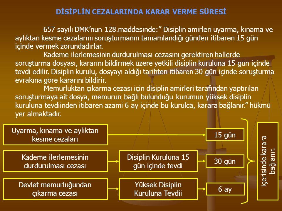 """DİSİPLİN CEZALARINDA KARAR VERME SÜRESİ 657 sayılı DMK'nun 128.maddesinde:"""" Disiplin amirleri uyarma, kınama ve aylıktan kesme cezalarını soruşturmanı"""