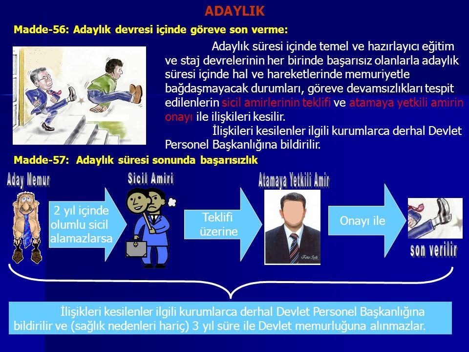 ADAYLIK Madde-56: Adaylık devresi içinde göreve son verme: Adaylık süresi içinde temel ve hazırlayıcı eğitim ve staj devrelerinin her birinde başarısı