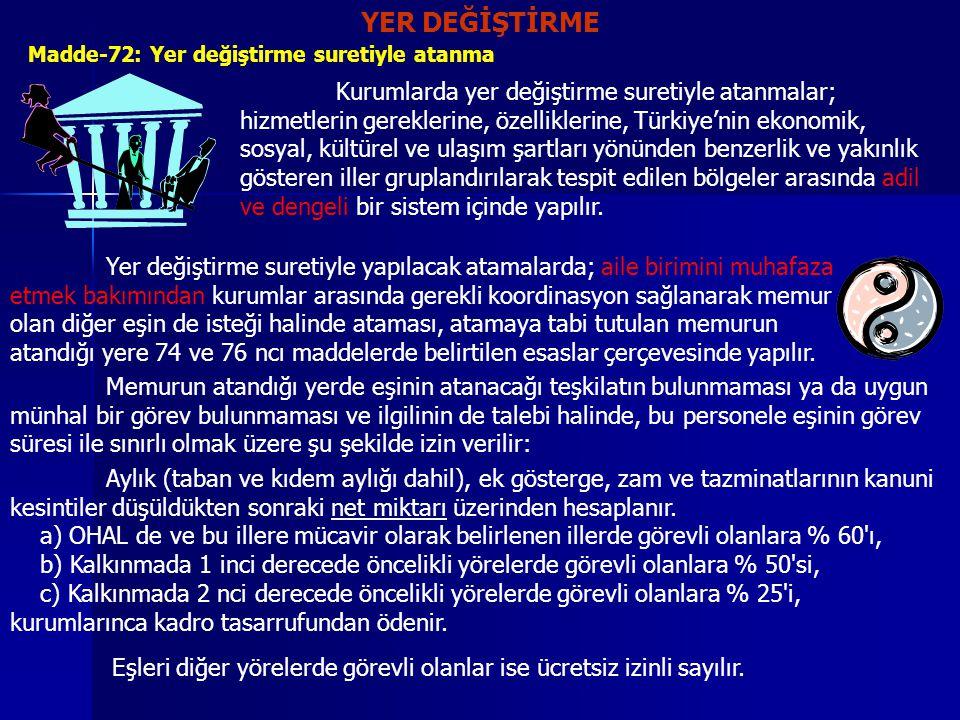YER DEĞİŞTİRME Madde-72: Yer değiştirme suretiyle atanma Kurumlarda yer değiştirme suretiyle atanmalar; hizmetlerin gereklerine, özelliklerine, Türkiy