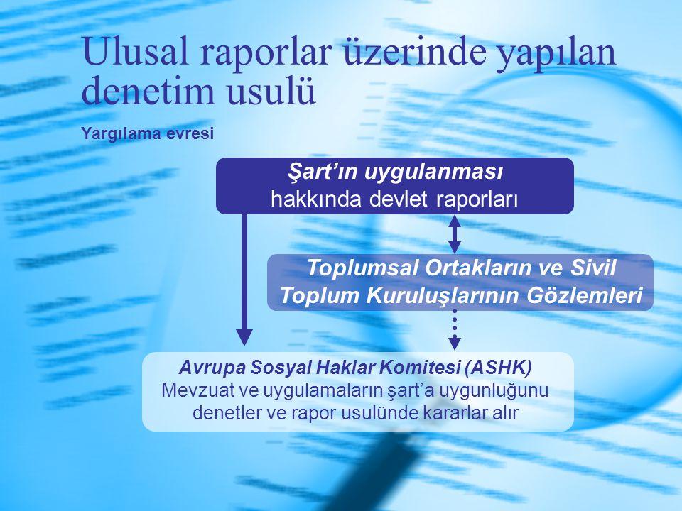 Ulusal raporlar üzerinde yapılan denetim usulü Şart'ın uygulanması hakkında devlet raporları Toplumsal Ortakların ve Sivil Toplum Kuruluşlarının Gözle