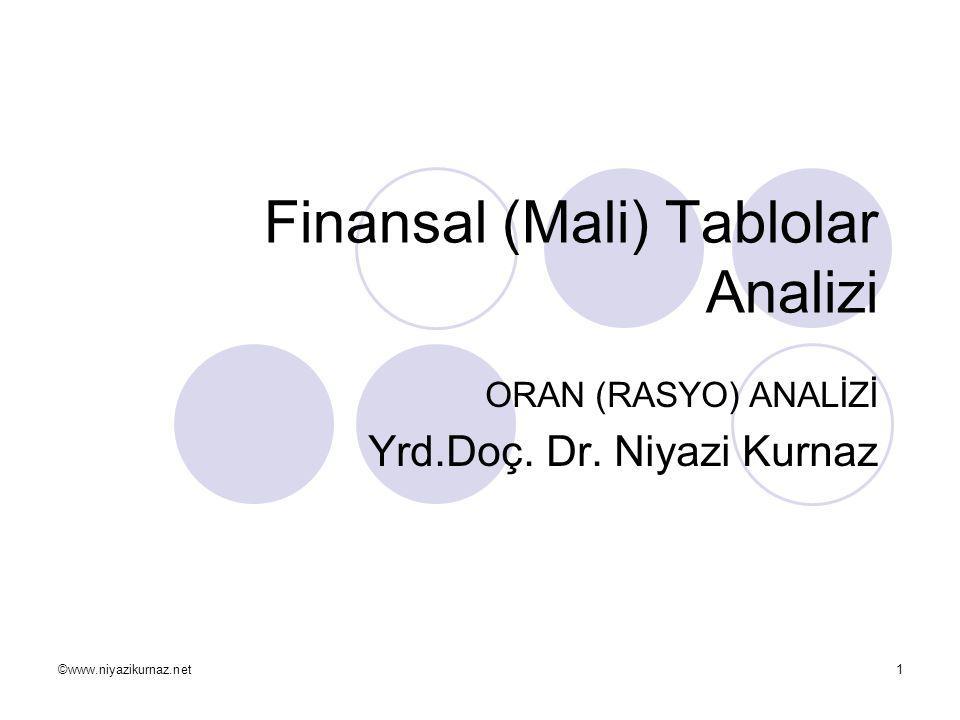 ©www.niyazikurnaz.net1 Finansal (Mali) Tablolar Analizi ORAN (RASYO) ANALİZİ Yrd.Doç. Dr. Niyazi Kurnaz