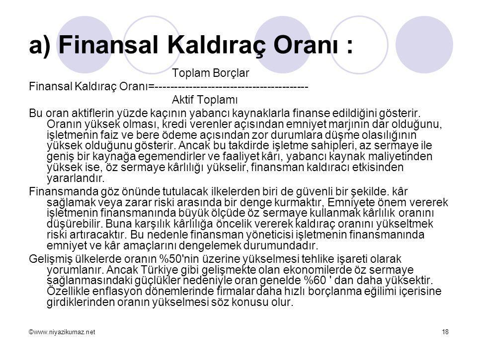 ©www.niyazikurnaz.net18 a) Finansal Kaldıraç Oranı : Toplam Borçlar Finansal Kaldıraç Oranı=----------------------------------------- Aktif Toplamı Bu