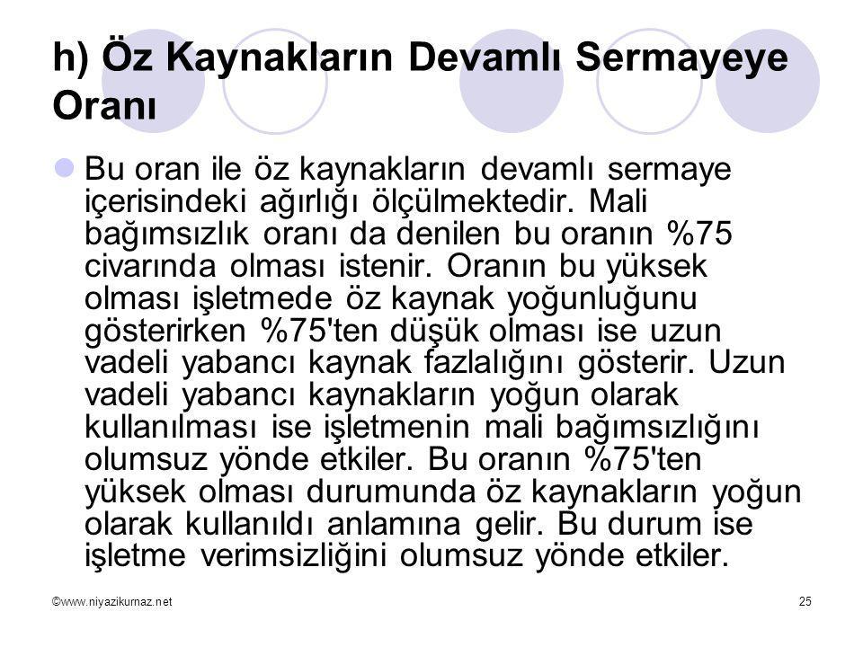 ©www.niyazikurnaz.net25 h) Öz Kaynakların Devamlı Sermayeye Oranı  Bu oran ile öz kaynakların devamlı sermaye içerisindeki ağırlığı ölçülmektedir. Ma