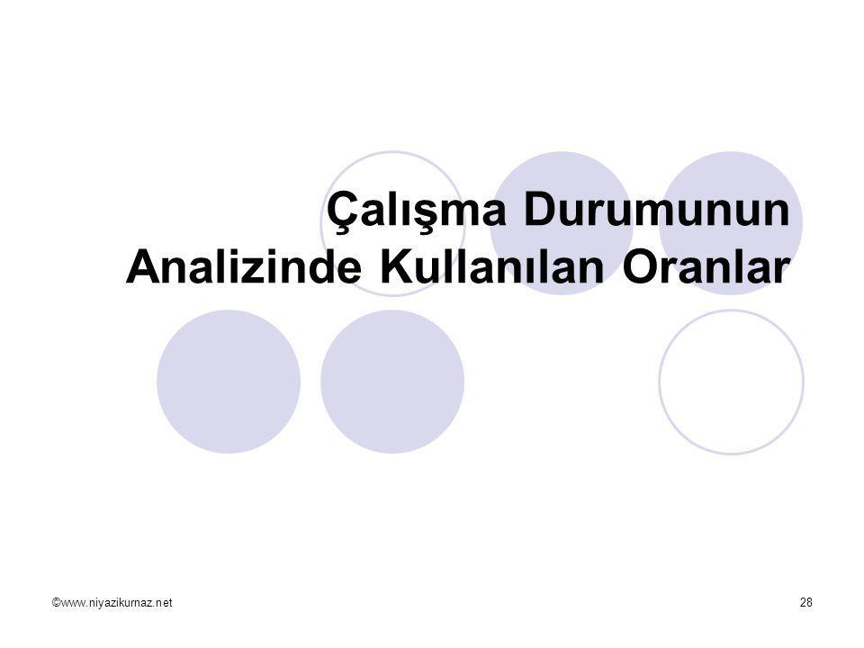 ©www.niyazikurnaz.net28 Çalışma Durumunun Analizinde Kullanılan Oranlar