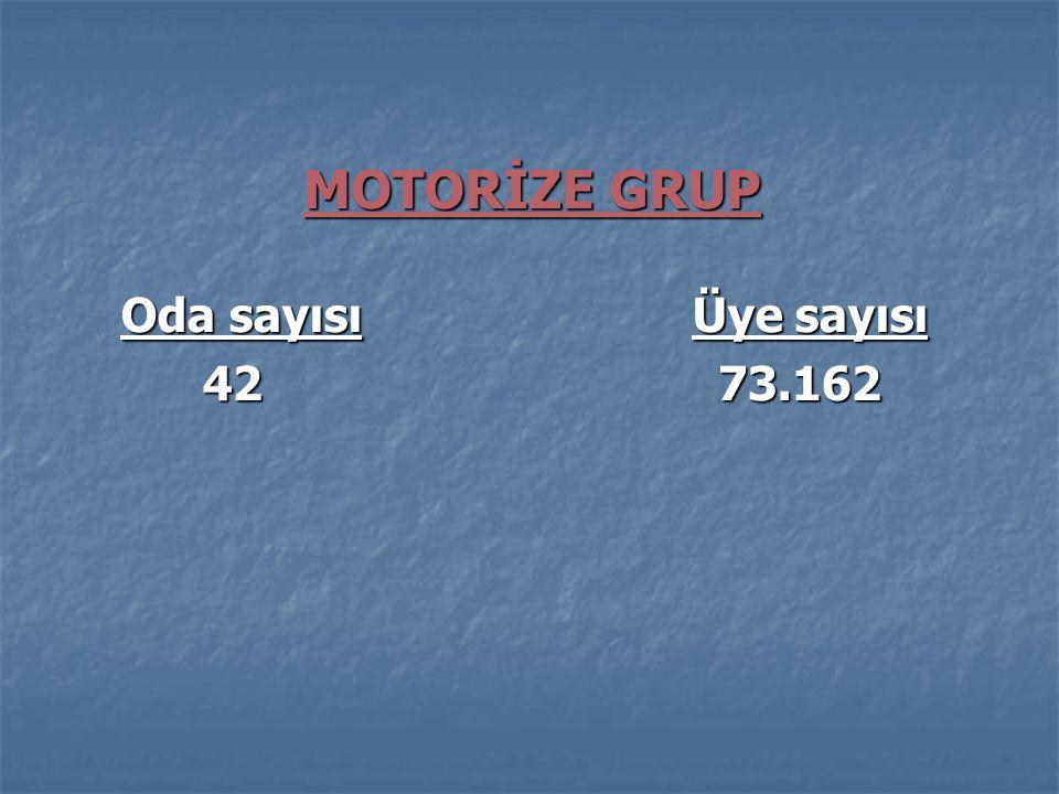 MOTORİZE GRUP Oda sayısı Üye sayısı Oda sayısı Üye sayısı 42 73.162 42 73.162