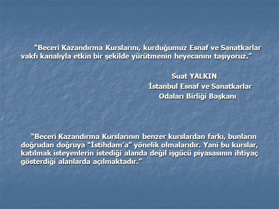 Beceri Kazandırma Kurslarını, kurduğumuz Esnaf ve Sanatkarlar vakfı kanalıyla etkin bir şekilde yürütmenin heyecanını taşıyoruz. Beceri Kazandırma Kurslarını, kurduğumuz Esnaf ve Sanatkarlar vakfı kanalıyla etkin bir şekilde yürütmenin heyecanını taşıyoruz. Suat YALKIN Suat YALKIN İstanbul Esnaf ve Sanatkarlar İstanbul Esnaf ve Sanatkarlar Odaları Birliği Başkanı Odaları Birliği Başkanı Beceri Kazandırma Kurslarının benzer kurslardan farkı, bunların doğrudan doğruya İstihdam'a yönelik olmalarıdır.