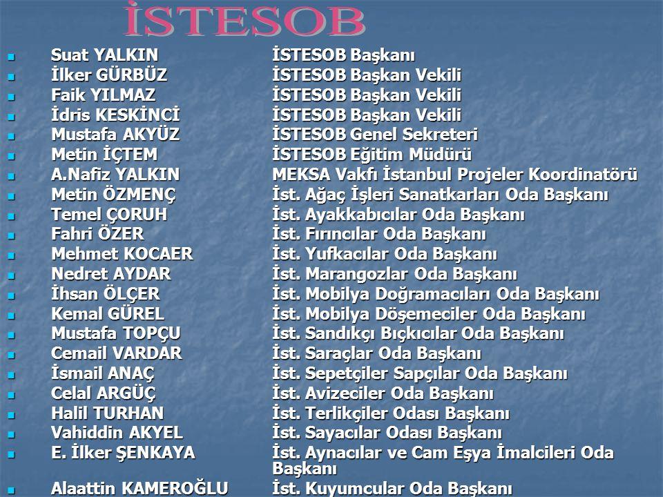  Suat YALKINİSTESOB Başkanı  İlker GÜRBÜZİSTESOB Başkan Vekili  Faik YILMAZİSTESOB Başkan Vekili  İdris KESKİNCİİSTESOB Başkan Vekili  Mustafa AKYÜZİSTESOB Genel Sekreteri  Metin İÇTEMİSTESOB Eğitim Müdürü  A.Nafiz YALKINMEKSA Vakfı İstanbul Projeler Koordinatörü  Metin ÖZMENÇİst.
