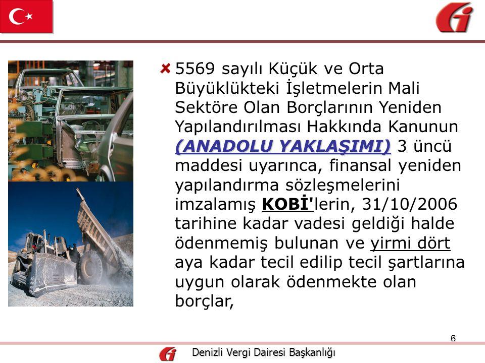 17 Denizli Vergi Dairesi Başkanlığı Denizli Vergi Dairesi Başkanlığı 18 ay Aralık/2008 18 ayda Mükelleflere borçlarını ödemeleri için ilk taksit Aralık/2008 ayından başlamak üzere 18 ayda ve 18 eşit taksitte ödeme imkanı tanınmıştır.