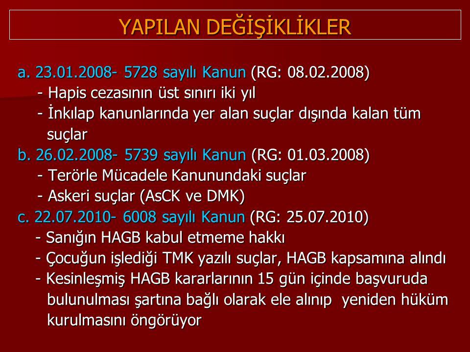 YAPILAN DEĞİŞİKLİKLER a. 23.01.2008- 5728 sayılı Kanun (RG: 08.02.2008) - Hapis cezasının üst sınırı iki yıl - Hapis cezasının üst sınırı iki yıl - İn