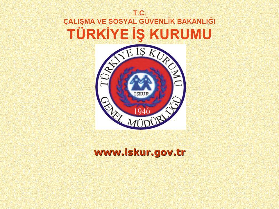 T.C. ÇALIŞMA VE SOSYAL GÜVENLİK BAKANLIĞI TÜRKİYE İŞ KURUMU www.iskur.gov.tr