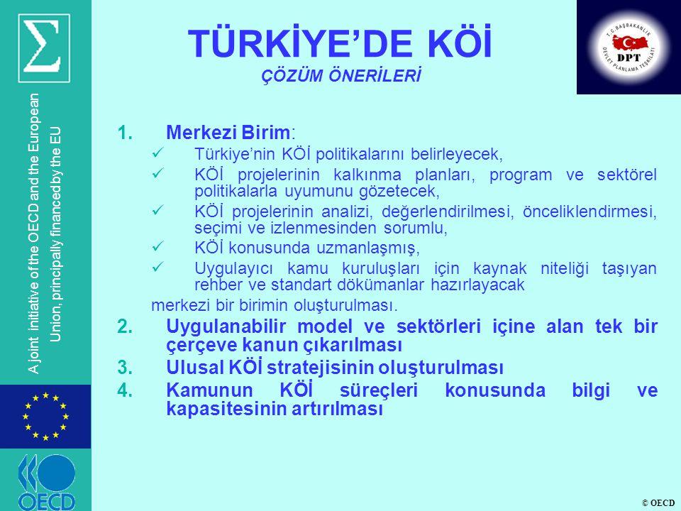 © OECD A joint initiative of the OECD and the European Union, principally financed by the EU 1.Merkezi Birim:  Türkiye'nin KÖİ politikalarını belirle