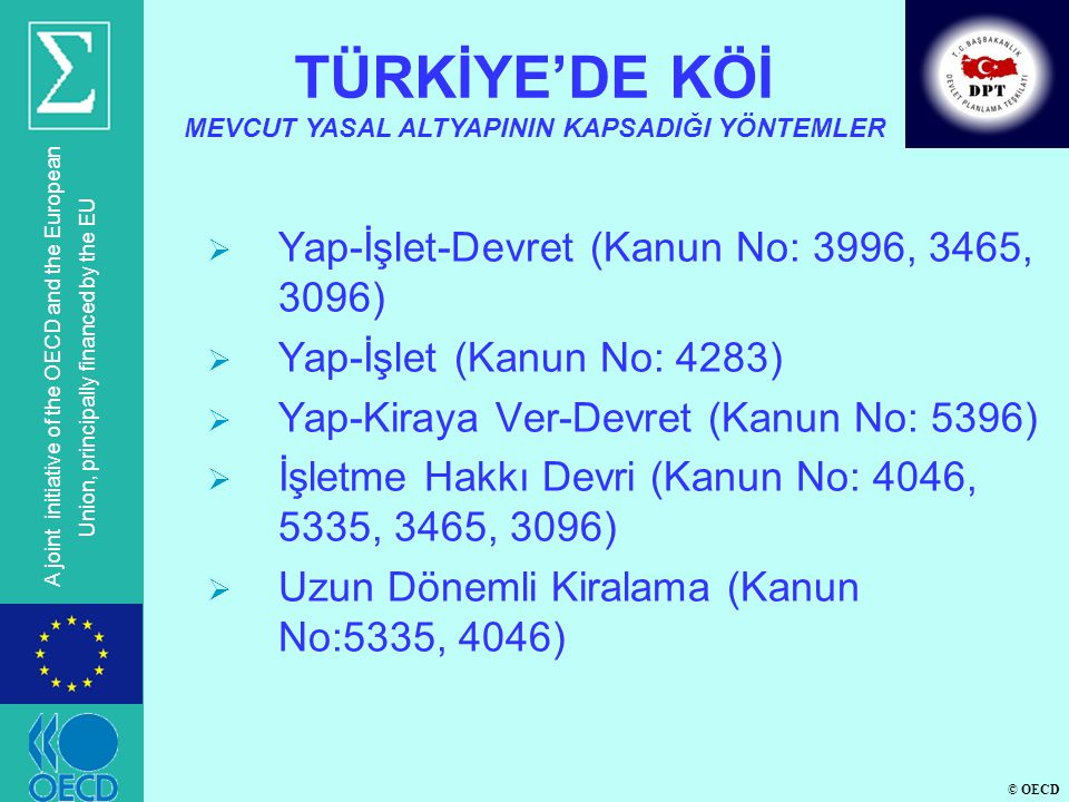 © OECD A joint initiative of the OECD and the European Union, principally financed by the EU  Yap-İşlet-Devret (Kanun No: 3996, 3465, 3096)  Yap-İşl