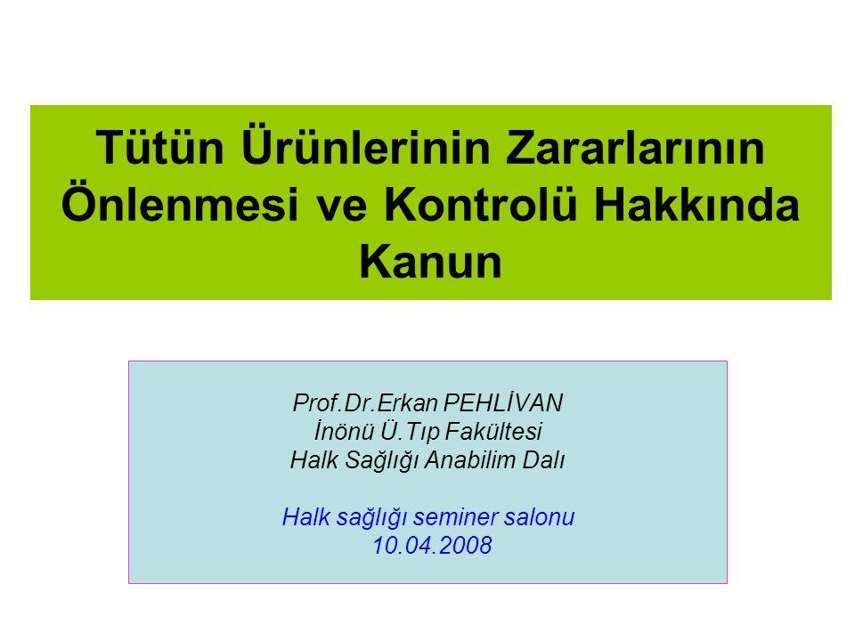 Tütün Ürünlerinin Zararlarının Önlenmesi ve Kontrolü Hakkında Kanun Prof.Dr.Erkan PEHLİVAN İnönü Ü.Tıp Fakültesi Halk Sağlığı Anabilim Dalı Halk sağlığı seminer salonu 10.04.2008