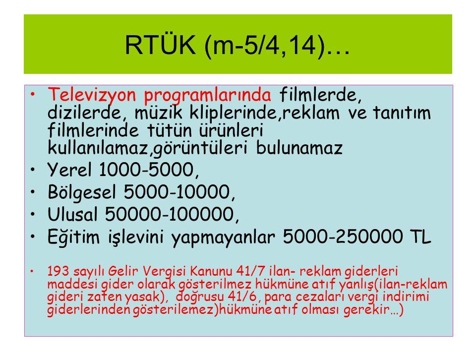 RTÜK (m-5/4,14)… •Televizyon programlarında filmlerde, dizilerde, müzik kliplerinde,reklam ve tanıtım filmlerinde tütün ürünleri kullanılamaz,görüntül