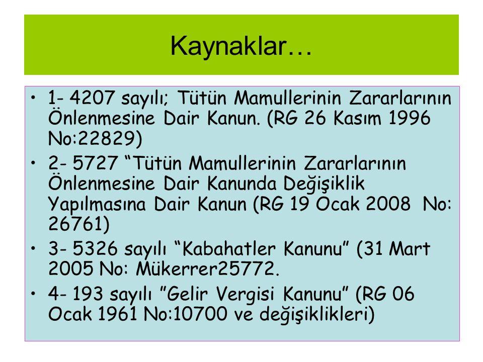 """Kaynaklar… •1- 4207 sayılı; Tütün Mamullerinin Zararlarının Önlenmesine Dair Kanun. (RG 26 Kasım 1996 No:22829) •2- 5727 """"Tütün Mamullerinin Zararları"""