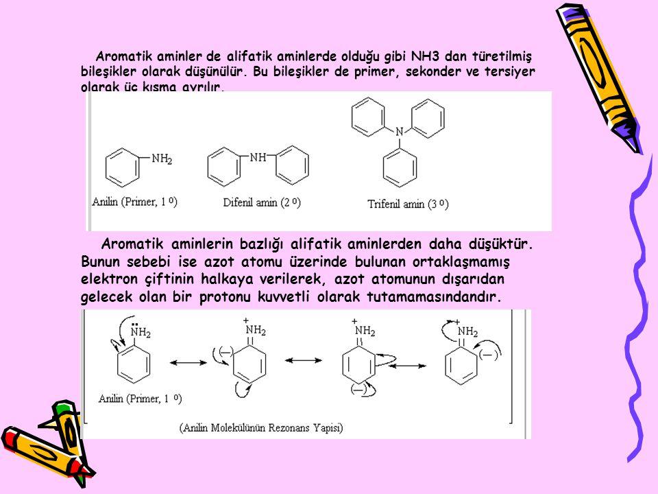 Aromatik aminler de alifatik aminlerde olduğu gibi NH3 dan türetilmiş bileşikler olarak düşünülür. Bu bileşikler de primer, sekonder ve tersiyer olara