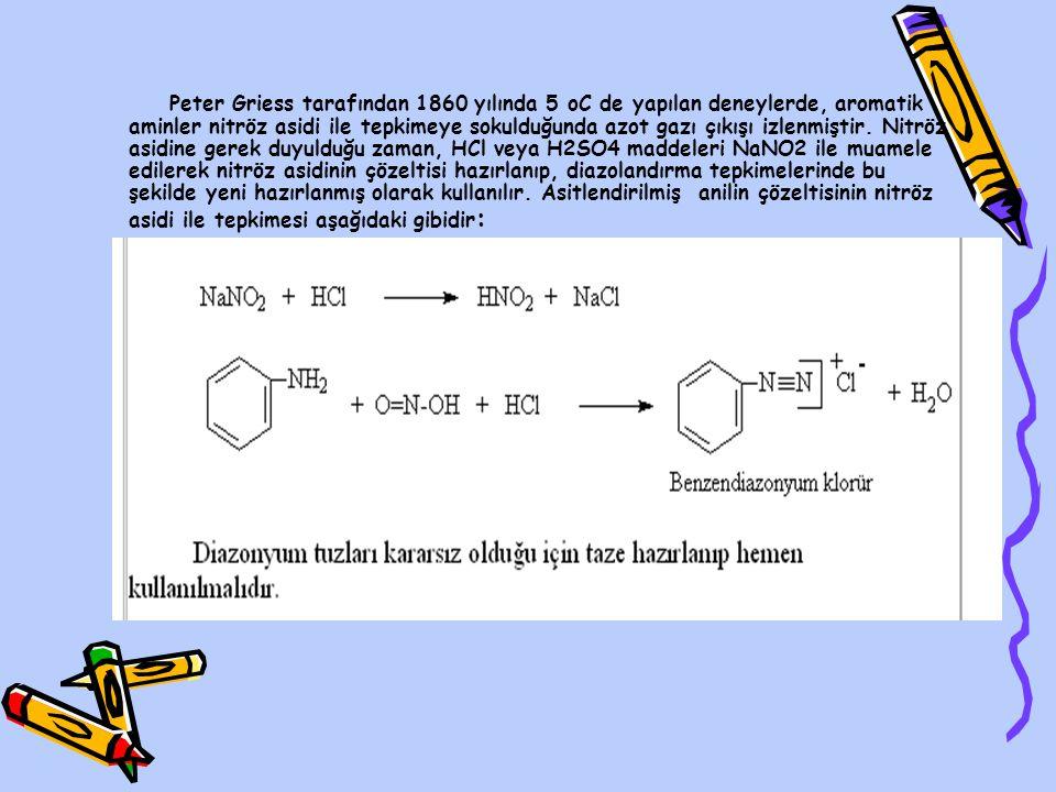 Peter Griess tarafından 1860 yılında 5 oC de yapılan deneylerde, aromatik aminler nitröz asidi ile tepkimeye sokulduğunda azot gazı çıkışı izlenmiştir