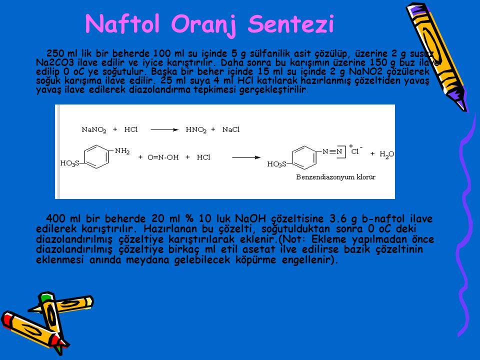 Naftol Oranj Sentezi 250 ml lik bir beherde 100 ml su içinde 5 g sülfanilik asit çözülüp, üzerine 2 g susuz Na2CO3 ilave edilir ve iyice karıştırılır.