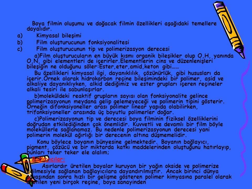Boya filmin oluşumu ve doğacak filmin özellikleri aşağıdaki temellere dayalıdır. a) Kimyasal bileşimi b) Film oluşturucunun fonksiyonalitesi c) Film o