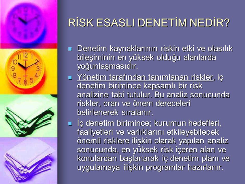 RİSK ESASLI DENETİM NEDİR?  Denetim kaynaklarının riskin etki ve olasılık bileşiminin en yüksek olduğu alanlarda yoğunlaşmasıdır.  Yönetim tarafında