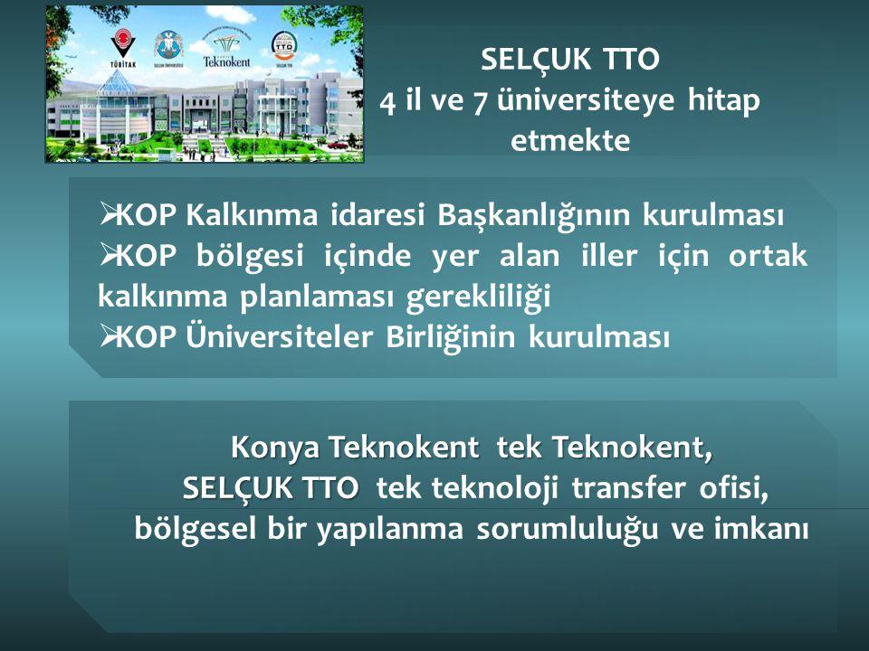 SELÇUK TTO 4 il ve 7 üniversiteye hitap etmekte  KOP Kalkınma idaresi Başkanlığının kurulması  KOP bölgesi içinde yer alan iller için ortak kalkınma planlaması gerekliliği  KOP Üniversiteler Birliğinin kurulması Konya Teknokent tek Teknokent, SELÇUK TTO SELÇUK TTO tek teknoloji transfer ofisi, bölgesel bir yapılanma sorumluluğu ve imkanı