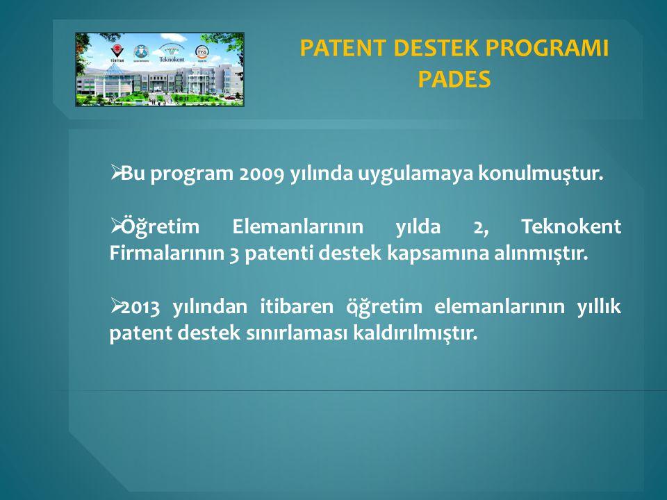 ı  Bu program 2009 yılında uygulamaya konulmuştur.  Öğretim Elemanlarının yılda 2, Teknokent Firmalarının 3 patenti destek kapsamına alınmıştır.  2