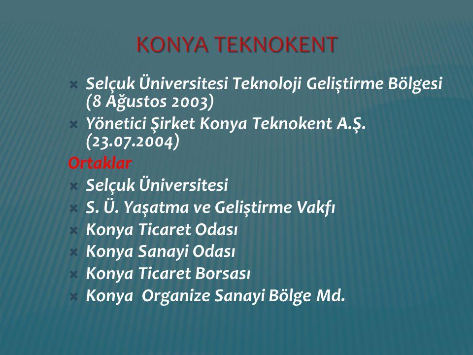 Selçuk Üniversitesi Teknoloji Geliştirme Bölgesi (8 Ağustos 2003)  Yönetici Şirket Konya Teknokent A.Ş. (23.07.2004) Ortaklar  Selçuk Üniversitesi