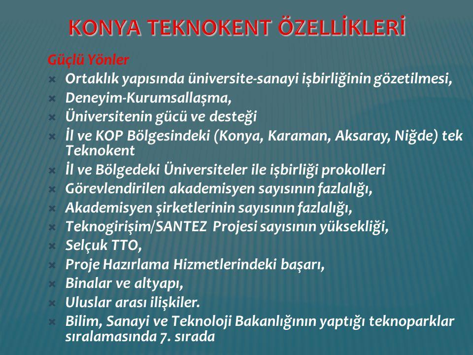 Güçlü Yönler  Ortaklık yapısında üniversite-sanayi işbirliğinin gözetilmesi,  Deneyim-Kurumsallaşma,  Üniversitenin gücü ve desteği  İl ve KOP Böl