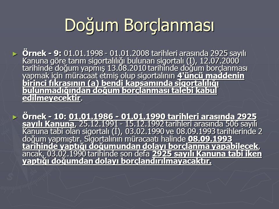 Doğum Borçlanması ► Örnek - 9: 01.01.1998 - 01.01.2008 tarihleri arasında 2925 sayılı Kanuna göre tarım sigortalılığı bulunan sigortalı (I), 12.07.200