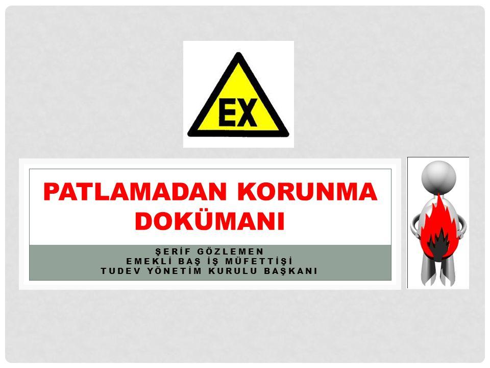 EN 60079-10 ÖRNEK HESAPLAMA • Alt patlayıcılık sınırı, (LEL): % 5 • Alt patlayıcılık sınırı (LEL m ): 0,416x 10 -3 x M x LELv = 0,033 kg/m3 • Boşalma derecesi: Tali • Emniyet faktörü, (k): 0,5 • Boşalma hızı, (dG/dt) max : 1 kg/s