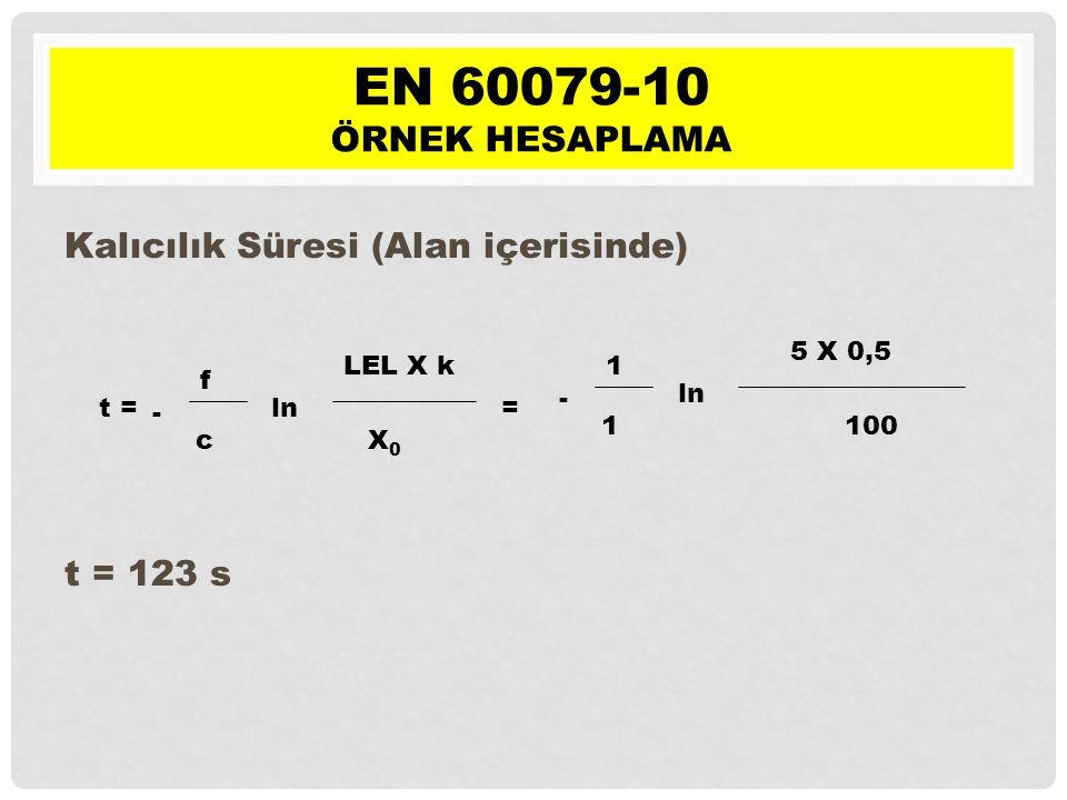 t = - f c ln LEL X k X0X0 = - 1 1 ln 5 X 0,5 100 Kalıcılık Süresi (Alan içerisinde) t = 123 s EN 60079-10 ÖRNEK HESAPLAMA