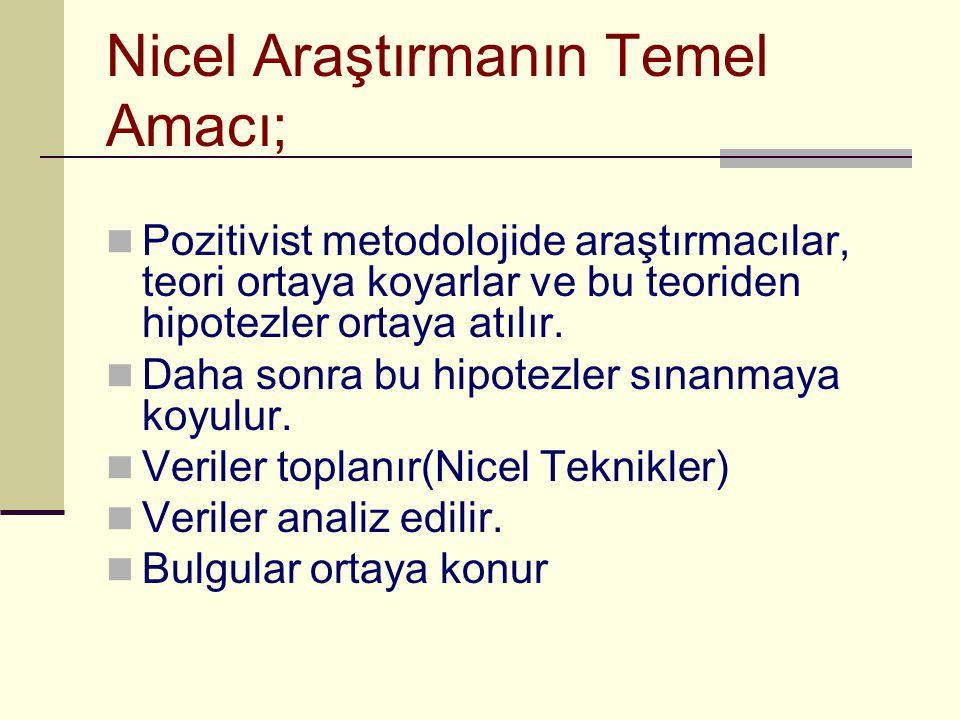 Nicel Araştırmanın Temel Amacı;  Pozitivist metodolojide araştırmacılar, teori ortaya koyarlar ve bu teoriden hipotezler ortaya atılır.  Daha sonra