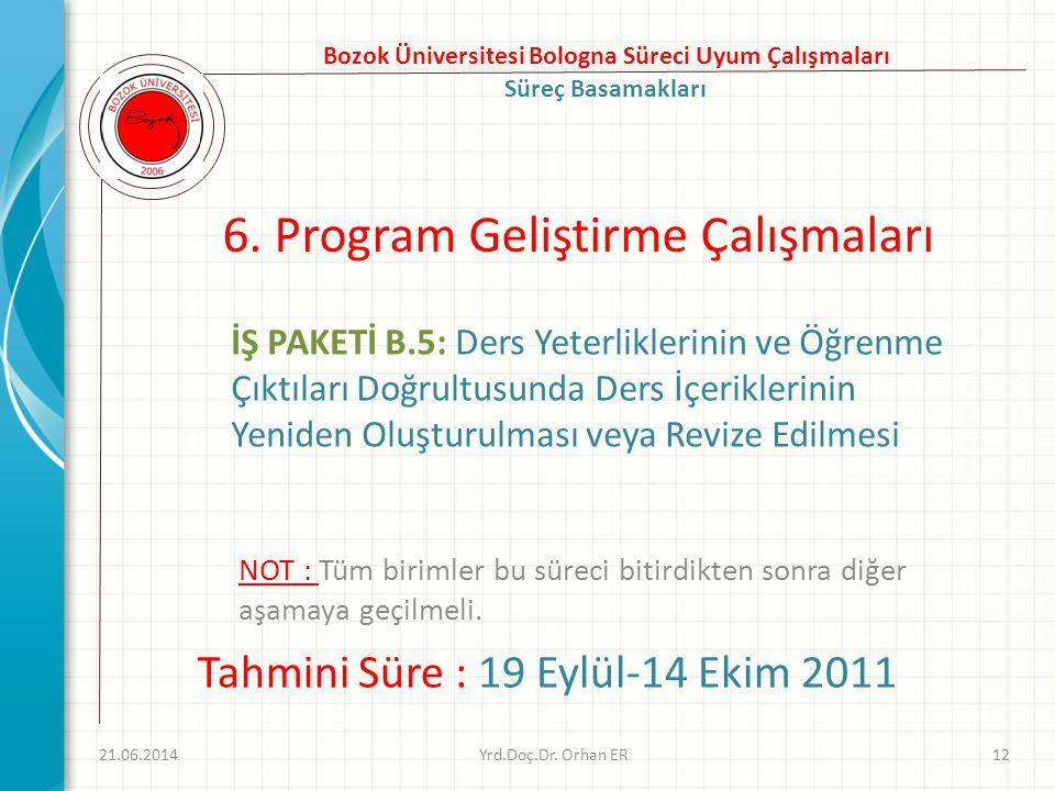 6. Program Geliştirme Çalışmaları 21.06.2014Yrd.Doç.Dr. Orhan ER12 Bozok Üniversitesi Bologna Süreci Uyum Çalışmaları Süreç Basamakları Tahmini Süre :