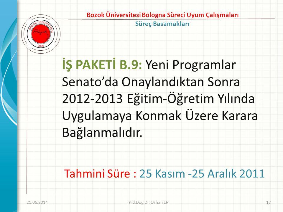 İŞ PAKETİ B.9: Yeni Programlar Senato'da Onaylandıktan Sonra 2012-2013 Eğitim-Öğretim Yılında Uygulamaya Konmak Üzere Karara Bağlanmalıdır. 21.06.2014