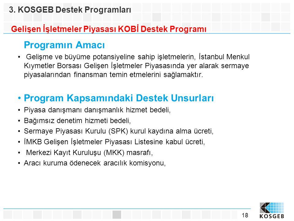 18 Programın Amacı • Gelişme ve büyüme potansiyeline sahip işletmelerin, İstanbul Menkul Kıymetler Borsası Gelişen İşletmeler Piyasasında yer alarak s