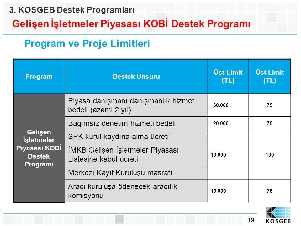 19 3. KOSGEB Destek Programları Gelişen İşletmeler Piyasası KOBİ Destek Programı Program ve Proje Limitleri ProgramDestek Unsuru Üst Limit (TL) Gelişe