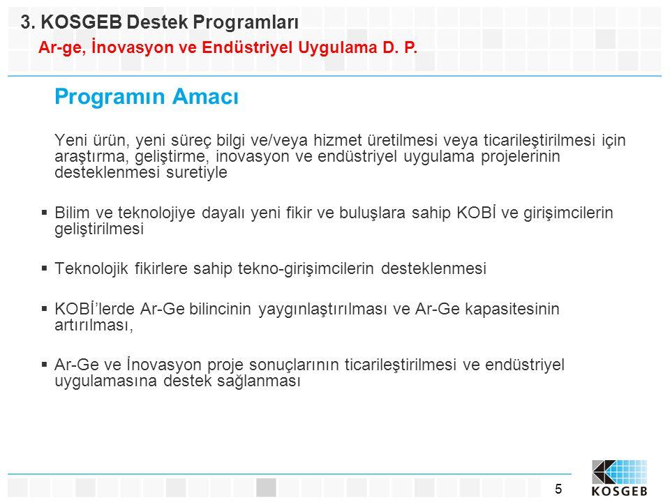 5 Programın Amacı Yeni ürün, yeni süreç bilgi ve/veya hizmet üretilmesi veya ticarileştirilmesi için araştırma, geliştirme, inovasyon ve endüstriyel u