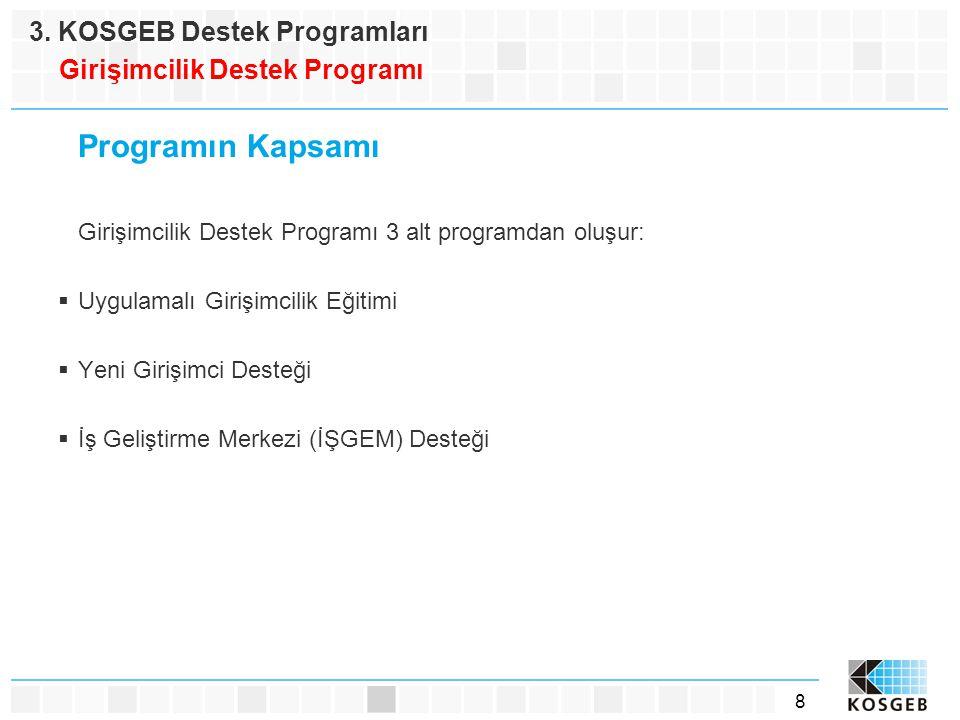 8 Programın Kapsamı Girişimcilik Destek Programı 3 alt programdan oluşur:  Uygulamalı Girişimcilik Eğitimi  Yeni Girişimci Desteği  İş Geliştirme M