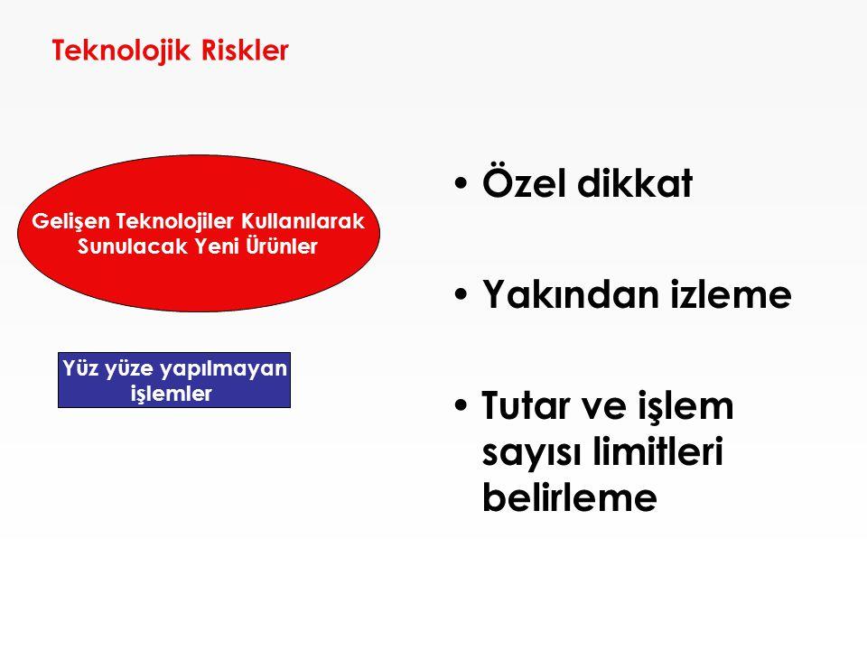 Teknolojik Riskler • Özel dikkat • Yakından izleme • Tutar ve işlem sayısı limitleri belirleme Yüz yüze yapılmayan işlemler Gelişen Teknolojiler Kulla