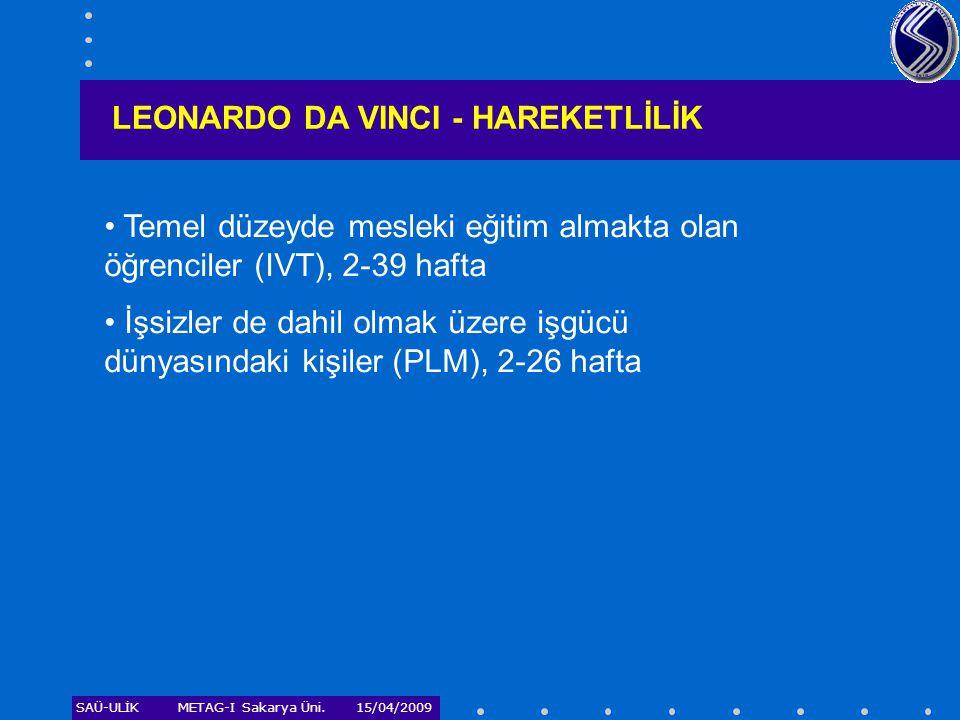 SAÜ-ULİKMETAG-I Sakarya Üni. 15/04/2009 LEONARDO DA VINCI - HAREKETLİLİK • Temel düzeyde mesleki eğitim almakta olan öğrenciler (IVT), 2-39 hafta • İş