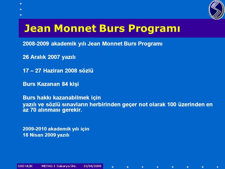 SAÜ-ULİKMETAG-I Sakarya Üni. 15/04/2009 2008-2009 akademik yılı Jean Monnet Burs Programı 26 Aralık 2007 yazılı 17 – 27 Haziran 2008 sözlü Burs Kazana