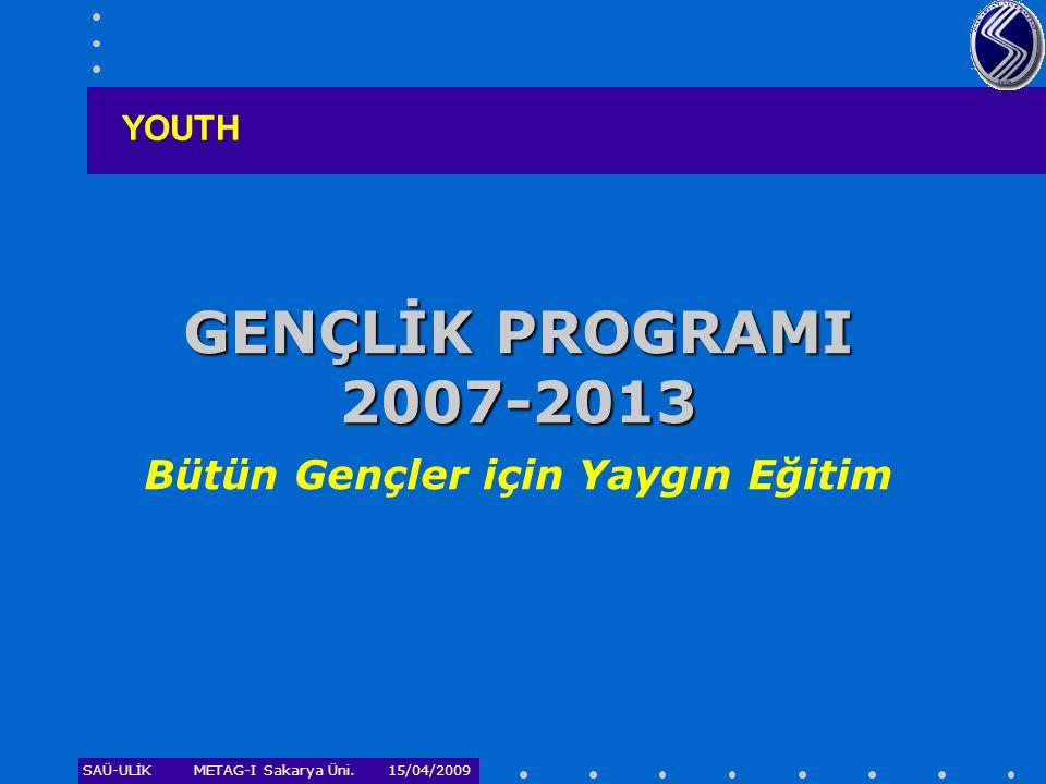 SAÜ-ULİKMETAG-I Sakarya Üni. 15/04/2009 GENÇLİK PROGRAMI 2007-2013 GENÇLİK PROGRAMI 2007-2013 Bütün Gençler için Yaygın Eğitim YOUTH