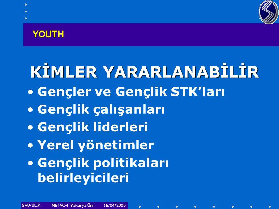 SAÜ-ULİKMETAG-I Sakarya Üni. 15/04/2009 KİMLER YARARLANABİLİR •Gençler ve Gençlik STK'ları •Gençlik çalışanları •Gençlik liderleri •Yerel yönetimler •