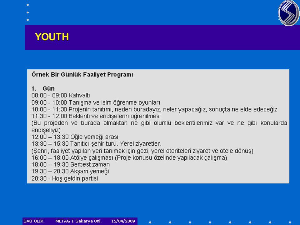 SAÜ-ULİKMETAG-I Sakarya Üni. 15/04/2009 YOUTH