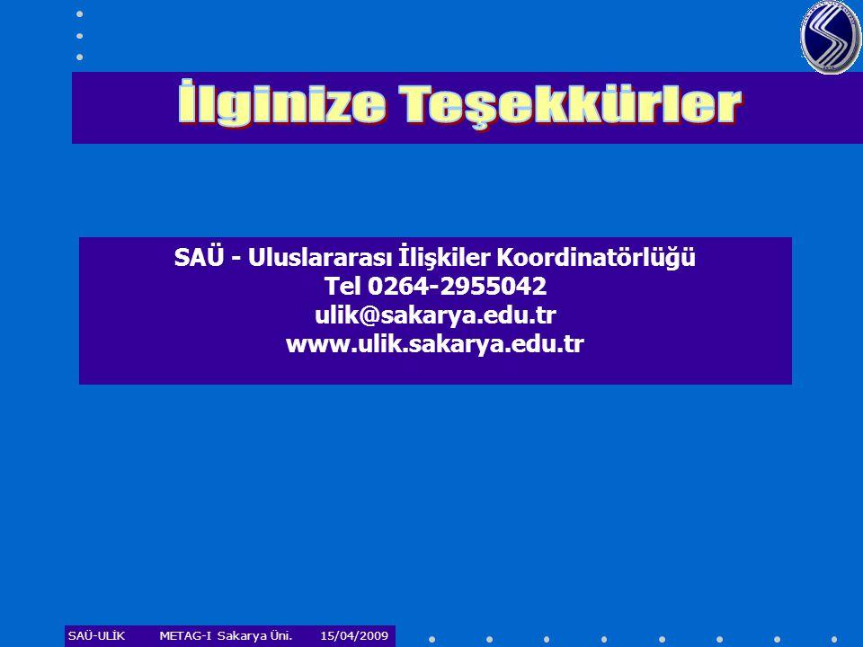 SAÜ-ULİKMETAG-I Sakarya Üni. 15/04/2009 SAÜ - Uluslararası İlişkiler Koordinatörlüğü Tel 0264-2955042 ulik@sakarya.edu.tr www.ulik.sakarya.edu.tr
