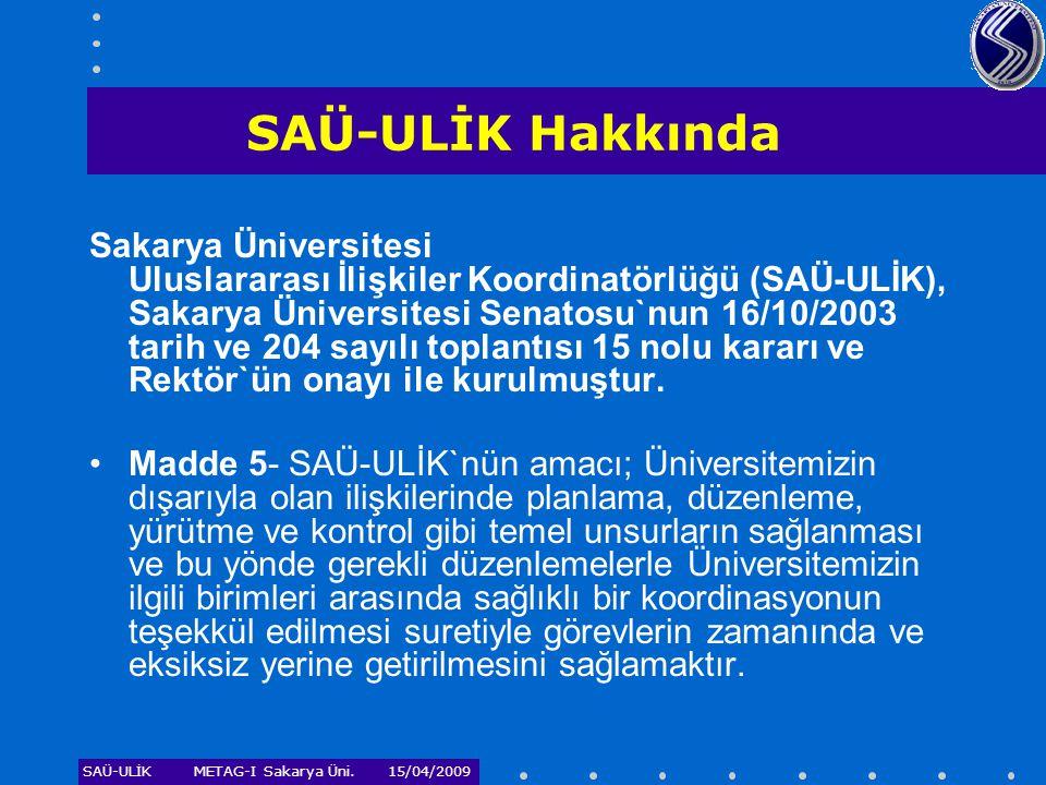 SAÜ-ULİKMETAG-I Sakarya Üni. 15/04/2009 SAÜ-ULİK Hakkında Sakarya Üniversitesi Uluslararası İlişkiler Koordinatörlüğü (SAÜ-ULİK), Sakarya Üniversitesi